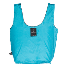 Photograph of reusable turquoise grocery bag made from recycled plastic bottles