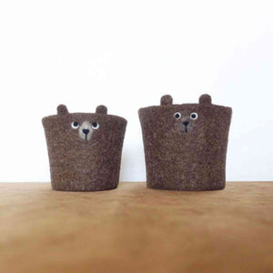 Again Again Coffee Cup Cozy Light Brown Bears