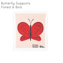 Organic cotton dish cloth in red Butterfly design.