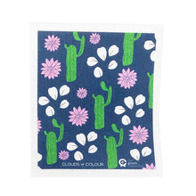 Compostable dish cloth with pretty cactus design.