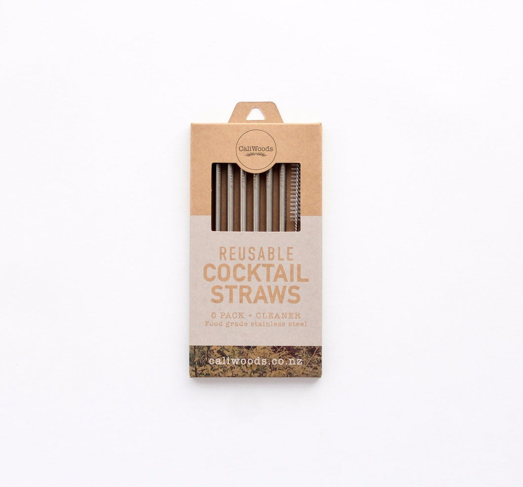 The best stainless steel cocktail straws in a 6 pack with a cleaning brush in compostable packaging.