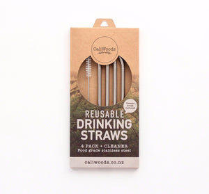 Reusable Stainless steel bent straws with natural fibre cleaning brush in compostable packaging.