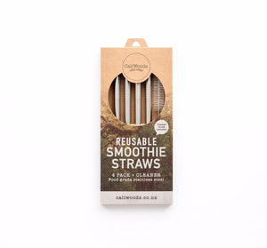 Reusable Stainless Steel Smoothie Straws, 4 pack with natural fibre cleaning brush in compostable packaging.