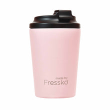Reusable pink / floss stainless steel coffee cup with black plastic lid.