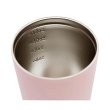 Internal view of pink / floss stainless steel coffee cup with measurements at 6, 8, 10 and 12 ounces.