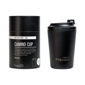 Reusable stainless steel coffee cup and packaging.