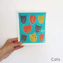 Organic cotton dish cloth with cats design.