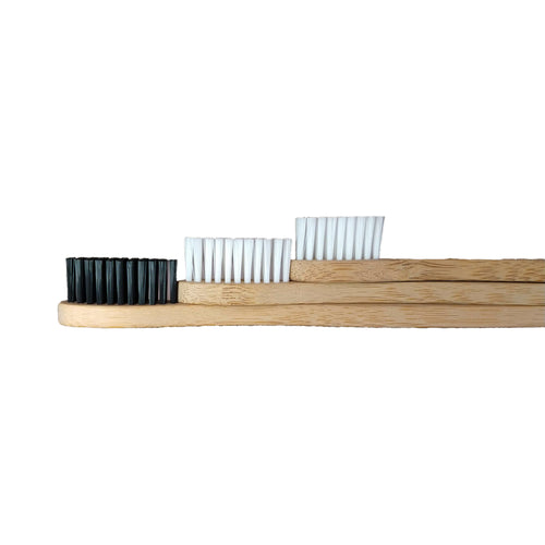 Charcoal infused bamboo toothbrush with 2 plain bamboo boothbrushes