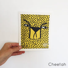 Dish cloth with cheetah design.
