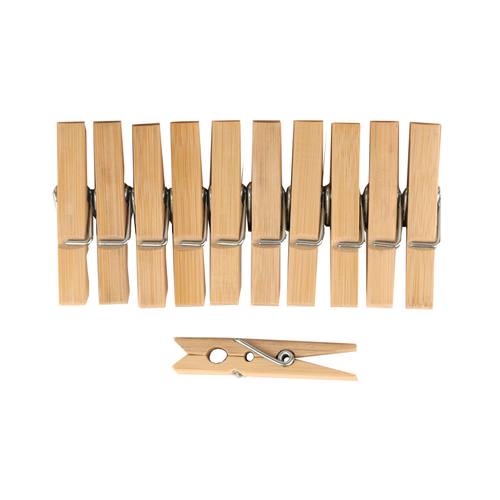 A row of 10 sustainable, organic bamboo clothes pegs with another peg laying on its side underneath.