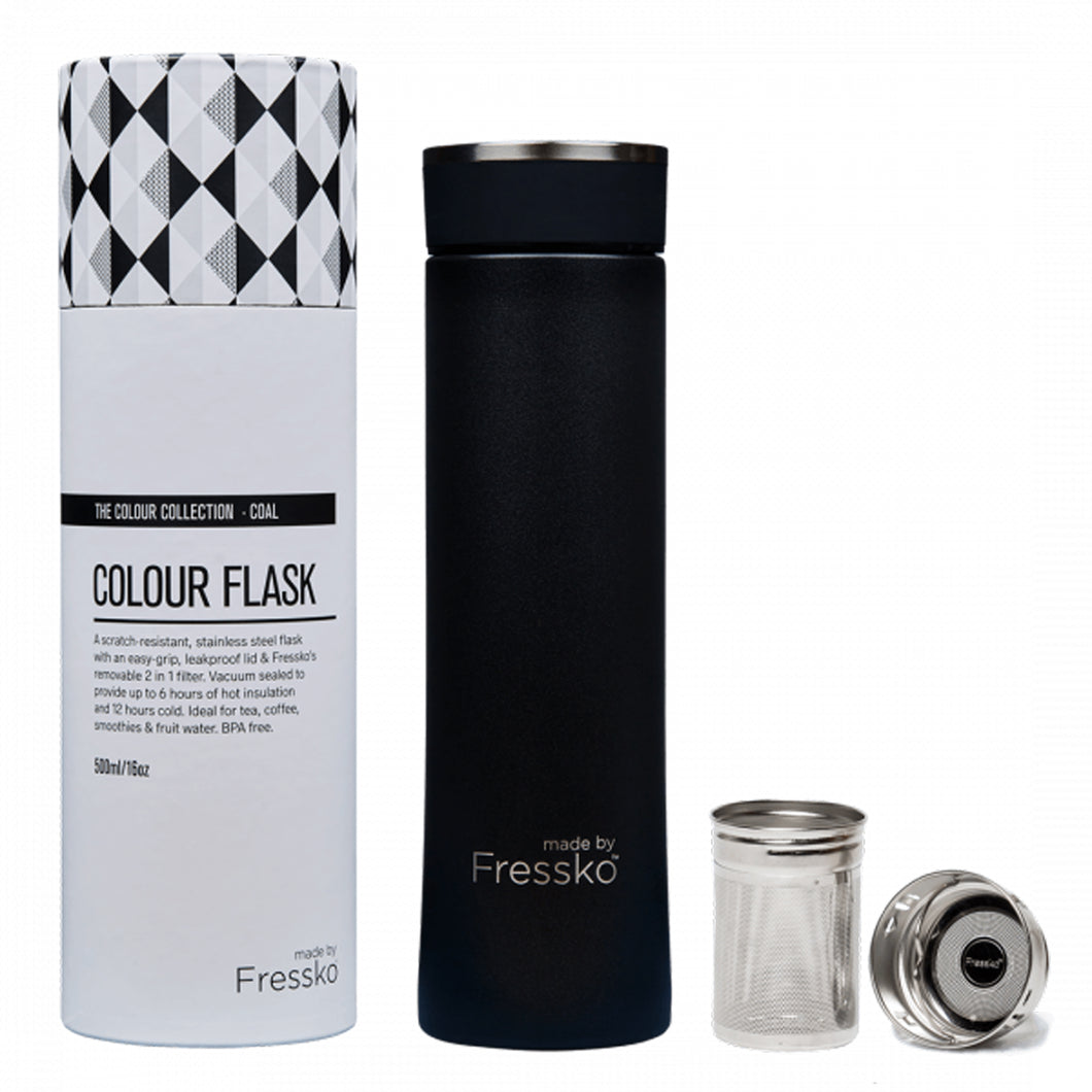 Reusable stainless steel flask with inbuilt tea strainer package contents.