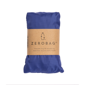 Photograph of reusable navy blue grocery bag in pouch with cardboard sleeve