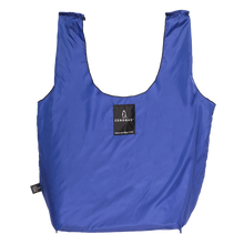 Photograph of reusable navy blue grocery bag made from recycled plastic bottles