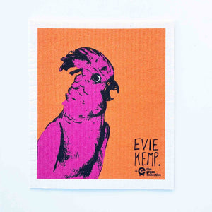 Compostable dish cloth with Evie Kemp Cockatoo design.