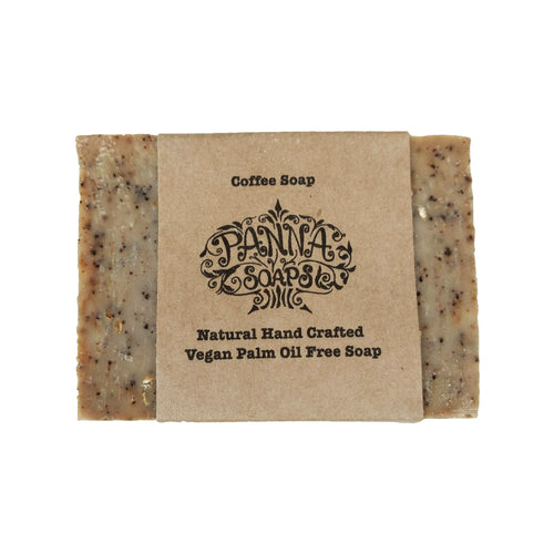 Coffee soap with simple brown paper wrapper.