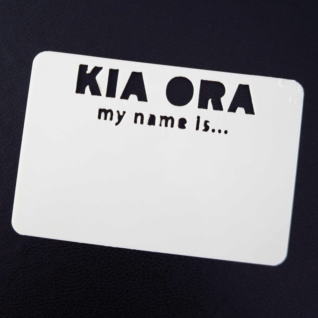 White plastic reusable name tag with