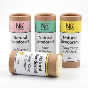 Natural, compostable deodorant in various fragrances.