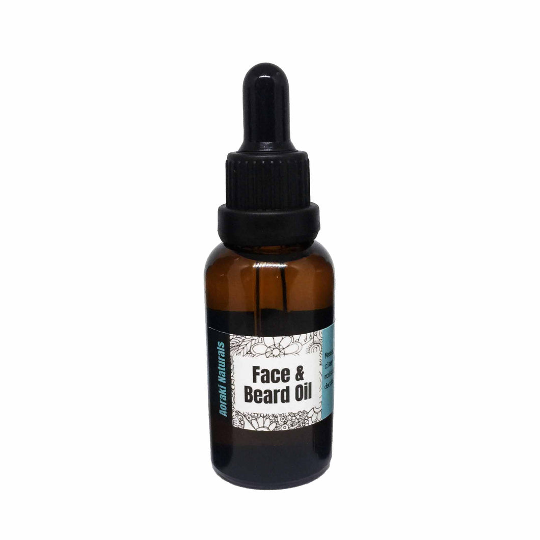 Face and beard oil in an amber glass dropper bottle.