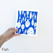 Dish cloth with fish design.