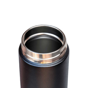 Reusable stainless steel flask opening minus inbuilt tea strainer.