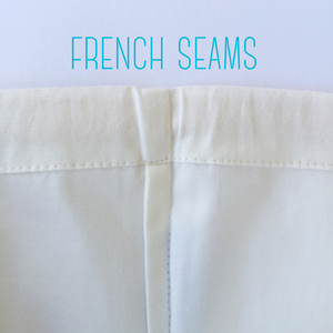 Close up of French seams on loot bags.