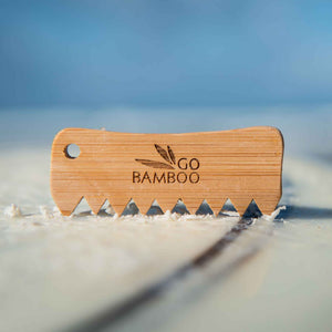 Go Bamboo surfboard wax comb in it's natural environment.