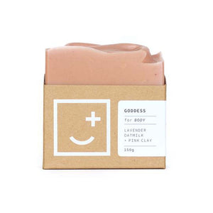 Goddess - light pink soap and body wash bar in minimal cardboard packaging.
