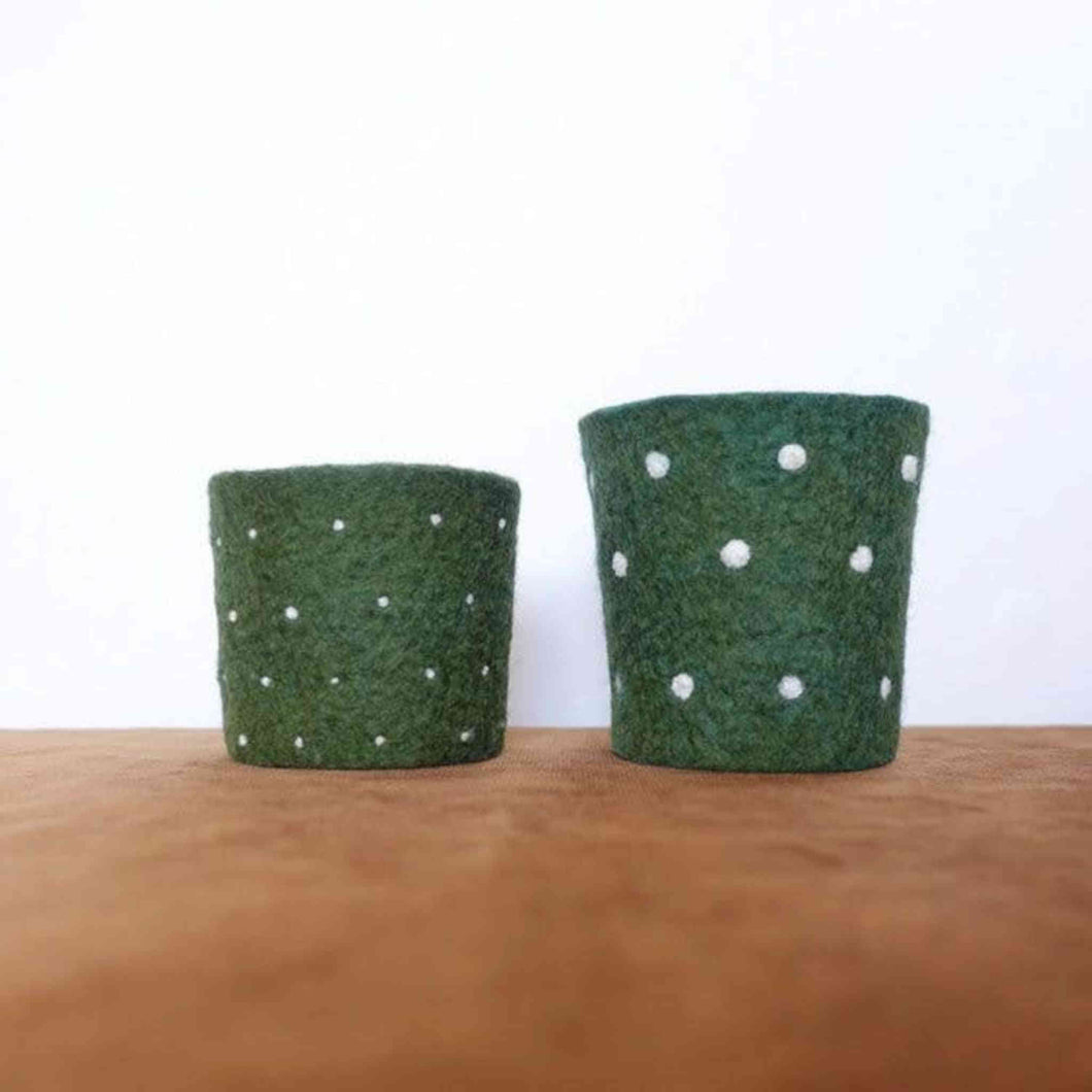 Again Again Coffee Cup Cozys in moss green with white dots.