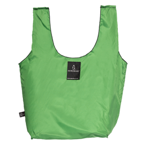 Photograph of reusable green grocery bag made from recycled plastic bottles