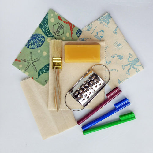 DIY Beeswax wrap kit including wax block, grater, painbrush, blank organic cotton fabric and markers