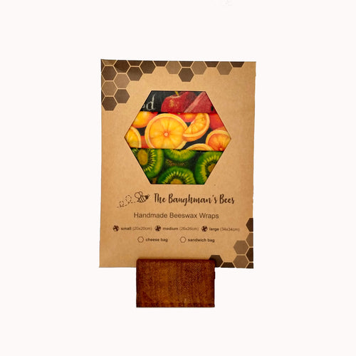 Beeswax food wrap pack of 3 in Kiwiana fabric