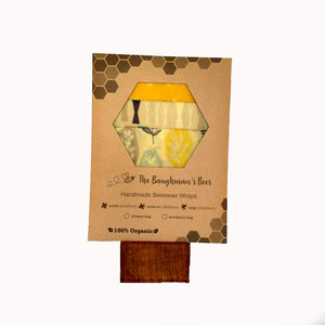 Beeswax food wrap pack of 3 in organic spring-time fabric.