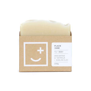 Plain Jane - unscented soap and body wash bar in minimal cardboard packaging.