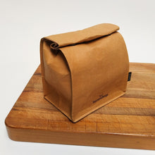 SammyBags reusable and washable kraft paper bag, ideally used as a lunch bag.