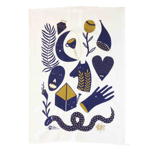 Tea towel with mystic stories artwork by Studio Stoph.
