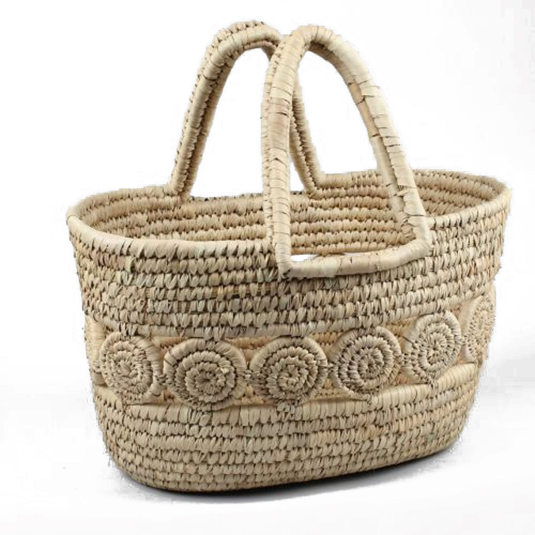 Natural handwoven shopping basket