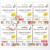 Completed range of 6 organic lip balms in compostable cardboard tube.