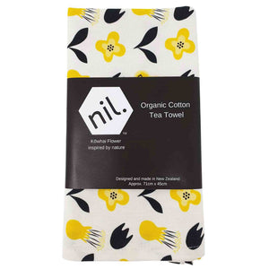 Organic cotton tea towel in Kowhai flower design.