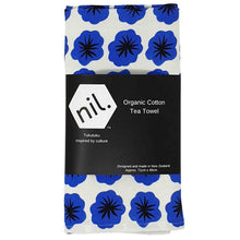 Organic cotton tea towel in blue flower design.