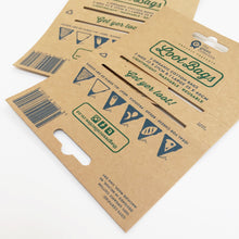 Closeup of loot bags recyclable swing tags.