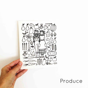 Compostable dish cloth with cute couple in produce design.