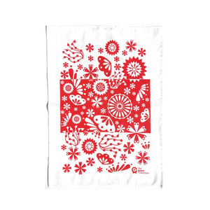 Designer tea towel in red flower design.