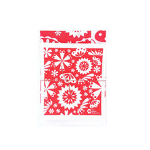 Designer tea towel and cotton dish cloth set in red flower design.