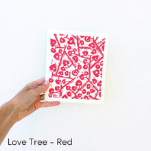 Dish cloth with red love tree design.