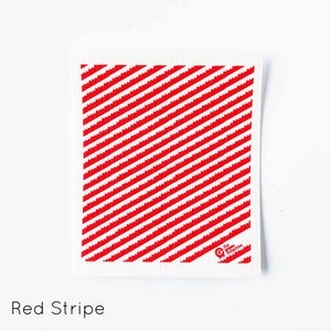 Dish cloth with red stripe design.