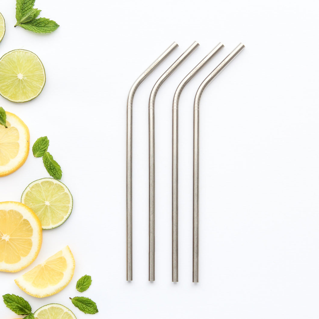 Four Single Bent Reusable Stainless Steel Straws.