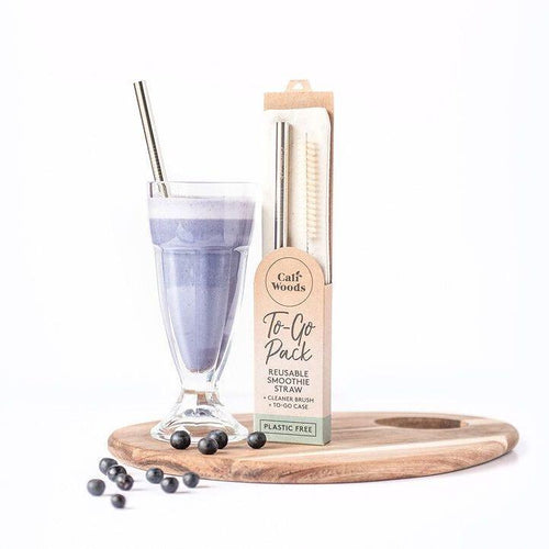 Reusable Stainless Steel Smoothie Straw To-Go Pack.