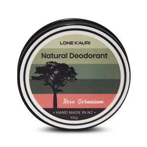 Lone Kauri natural deodorant in Rose Geranium scent