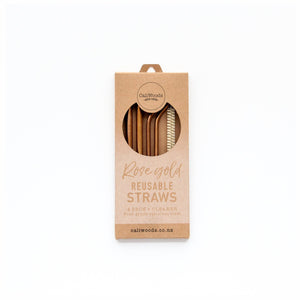 Reusable Rose Gold Stainless Steel Straws, 4 pack containing 2 bent, 2 smoothie and a natural fibre cleaning brush in compostable packaging.