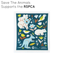 Compostable dish cloth with Save The Animals design, 10% of which supports the RSPCA.